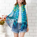 Chiffon Scarf Shawls Winter Women Polka Dot Print Solid 160*50CM - Blue