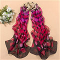 Chiffon Scarf Shawls Winter Women Polka Dot Print Solid 160*50CM - Purple