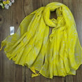Chiffon Scarf Shawls Winter Women Print Floral Solid Scarves 180*95CM - Yellow