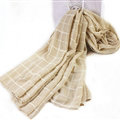 Classic Plaid Unisex Scarf Shawl Winter Warm Cotton Solid Panties 150*120CM - Beige