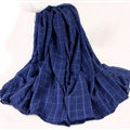 Classic Plaid Unisex Scarf Shawl Winter Warm Cotton Solid Panties 150*120CM - Dark Blue