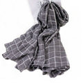 Classic Plaid Unisex Scarf Shawl Winter Warm Cotton Solid Panties 150*120CM - Grey