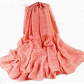 Classic Plaid Unisex Scarf Shawl Winter Warm Cotton Solid Panties 150*120CM - Orange