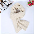 Classic Unisex Scarf Cashmere Warm Winter Solid Scarves Wraps 180*35CM - White