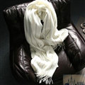 Classic Unisex Scarf Shawl Winter Warm Cashmere Solid Panties 200*60CM - White