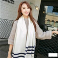 Classic Unisex Scarf Striped Cashmere Warm Winter Solid Scarves Wraps 200*35CM - White