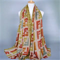 Colorful Chiffon Scarf Shawls Winter Women Print Scarves 180*90CM - Beige