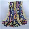 Colorful Chiffon Scarf Shawls Winter Women Print Scarves 180*90CM - Blue