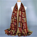 Colorful Chiffon Scarf Shawls Winter Women Print Scarves 180*90CM - Dark Red