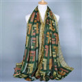 Colorful Chiffon Scarf Shawls Winter Women Print Scarves 180*90CM - Green