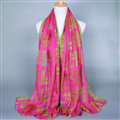 Colorful Chiffon Scarf Shawls Winter Women Print Scarves 180*90CM - Pink