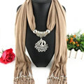 Cool Women Scarf Shawls Winter Warm Polyester Solid Scarves 180*40CM - Beige