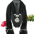 Cool Women Scarf Shawls Winter Warm Polyester Solid Scarves 180*40CM - Black