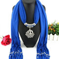 Cool Women Scarf Shawls Winter Warm Polyester Solid Scarves 180*40CM - Blue
