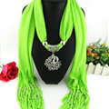 Cool Women Scarf Shawls Winter Warm Polyester Solid Scarves 180*40CM - Green