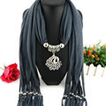 Cool Women Scarf Shawls Winter Warm Polyester Solid Scarves 180*40CM - Grey