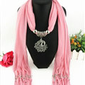 Cool Women Scarf Shawls Winter Warm Polyester Solid Scarves 180*40CM - Pink