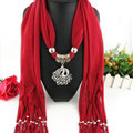 Cool Women Scarf Shawls Winter Warm Polyester Solid Scarves 180*40CM - Red