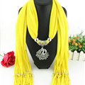 Cool Women Scarf Shawls Winter Warm Polyester Solid Scarves 180*40CM - Yellow