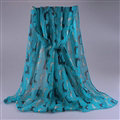 Cute Women Scarf Print Animal Dogs Bamboo Fiber Scarves Wraps 180*90CM - Blue