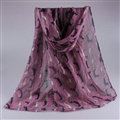 Cute Women Scarf Print Animal Dogs Bamboo Fiber Scarves Wraps 180*90CM - Purple