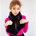 Cute Women Scarf Shawl Winter Warm Worsted Solid Wraps 100*20CM - Black