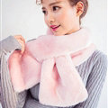 Cute Women Scarf Shawl Winter Warm Worsted Solid Wraps 100*20CM - Pink