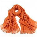 Exquisite Scarf Shawls Winter Warm Cashmere Solid Wholesale 200*60CM - Orange