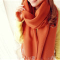 Fashion Tassels Women Scarf Shawl Winter Warm Wool Solid Panties 206*60CM - Orange