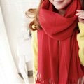 Fashion Tassels Women Scarf Shawl Winter Warm Wool Solid Panties 206*60CM - Red