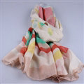 Free Striped Women Scarf Dot Bamboo Fiber Warm Scarves Wraps 180*90CM - Beige