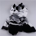 Free Striped Women Scarf Dot Bamboo Fiber Warm Scarves Wraps 180*90CM - Black