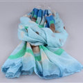 Free Striped Women Scarf Dot Bamboo Fiber Warm Scarves Wraps 180*90CM - Blue