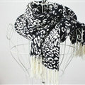 Fringed Leopard Print Scarf Shawls Women Winter Warm Cashmere Panties 180*70CM - Black