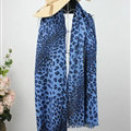 Fringed Leopard Print Scarf Shawls Women Winter Warm Cashmere Panties 180*70CM - Blue