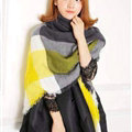 Fun Striped Scarf Shawls Pashmina Women Warm Cashmere Scarves 140*140CM - Yellow