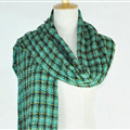 Plaid Scarf Shawls Pashmina Women Winter Warm Wool Solid Scarves 200*50CM - Green