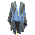 Plaid Scarf Shawls Woman Pashmina Winter Warm Cashmere Female Panties 140*135CM - Blue