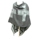 Plaid Scarf Shawls Woman Pashmina Winter Warm Cashmere Female Panties 140*135CM - Grey