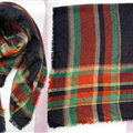 Plaid Scarf Shawls Women Winter Warm Cashmere Solid Wholesale 140*140CM - Green