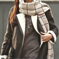 Plaid Women Scarf Shawl Winter Warm Cashmere Panties 200*60CM - Beige