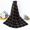Plaid Women Scarf Shawls Winter Warm Wool Solid Scarves 200*100CM - Black