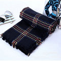 Plaid Women Scarf Shawls Winter Warm Wool Solid Scarves 200*100CM - Blue