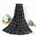 Plaid Women Scarf Shawls Winter Warm Wool Solid Scarves 200*100CM - Green
