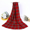 Plaid Women Scarf Shawls Winter Warm Wool Solid Scarves 200*100CM - Red