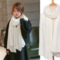 Pretty Unisex Scarf Shawl Winter Warm Cashmere Solid Panties 220*60CM - White