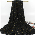 Print Fawn Women Pashmina Shawl Winter Warm Cotton Solid Panties 190*150CM - Black