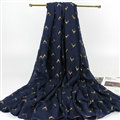 Print Fawn Women Pashmina Shawl Winter Warm Cotton Solid Panties 190*150CM - Dark Blue