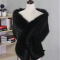 Quality Bridal Fur Scarf Shawls Women Winter Warm Solid Panties 165*30CM - Black