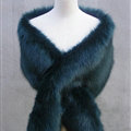 Quality Bridal Fur Scarf Shawls Women Winter Warm Solid Panties 165*30CM - Blackish Green